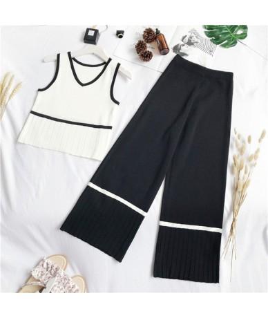 2019 Summer Knitted Tank Top + High Waist Wide Leg Pants Set Women Sleeveless V-neck Vest Crop Top Mid-Calf Length Two Piece...