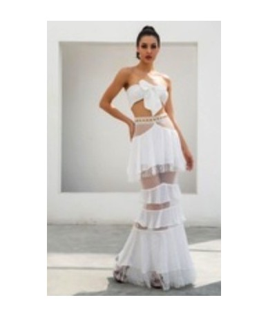 White Straps Tube Tops Metal Lace Lace Two-Pieces Sets LM0883 - WHITE - 4V3965523339-1
