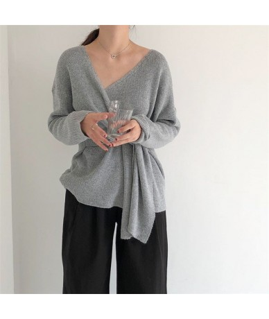 Autumn New Design Elegant Sweater Women Full Sleeve V-Neck Knitted Sashes Tie a Knot Thin Cardigan Coat Female Tops - grey -...