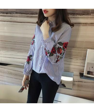 Women Blouses Ladies Floral Embroidery Blouse Lantern Long Sleeve Fashion Casual Shirt Women Camisas Femininas Women Tops - ...