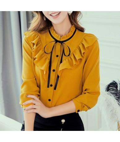 2019 Autumn Spring Shirts Korean Women Blouse Fashion Slim Blouses Casual Top Office Ladies Chiffon Shirt Blusas Mujer Blue ...