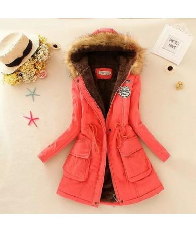 2019 New Parkas Female Women Winter Coat Thickening Cotton Winter Jacket Womens Outwear Parkas for Women Winter - Hot Pink -...