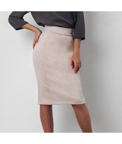 2019 Fashion Women Skirts Summer Plus Size Knee-Length Pencil Skirt Female Suede Split Skirts Jupe Femme Faldas Mujer - 1 - ...