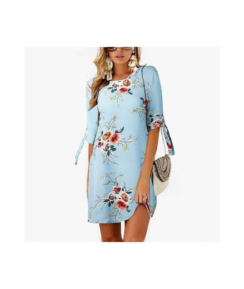 Summer Dress 2019 Print Mini Dress Casual Women Sundress Chiffon Half Sleeve Boho Shirt Dresses Plus Size Party Vintage Vest...