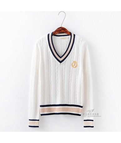 British Preppy Style Women's Unisex V-Neck Winter Sweater Japanese School JK Uniform Long Sleeve Sweater Twisted Line - Beig...