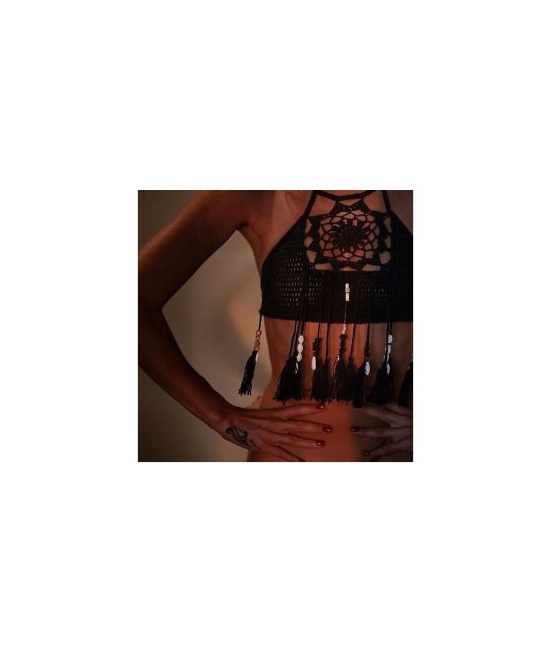 Women Crochet Lace Bralette Knit Bra Boho Beach Bikini Halter Cami Tank Crop Top WHolesale - Black - 413061601126-1