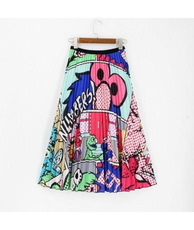 2019 Srping Summer Women's Skirt High Elasticity Striped Printing Midi Pleated Long Skirt Jupe Femme Plus Size Green Skirt -...