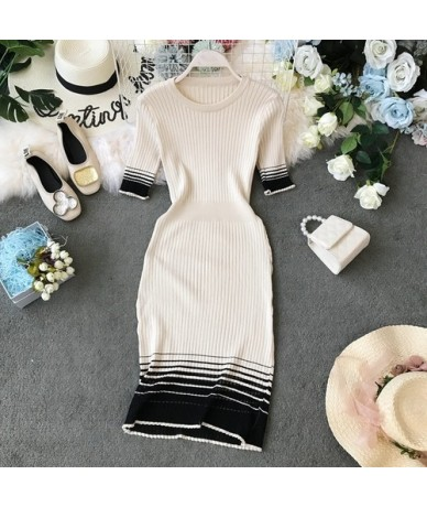 Women Short Sleeve Dress 2019 Summer Knitted Stretch Striped O-neck Casual Bodycon Dress Knee Length Lady Vestidos - Apricot...