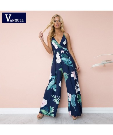 Sexy Women Jumpsuit Spaghetti Strap Sleeveless Striped Jumpsuit Deep V Neck Casual Party Wide Leg Pants Outfits 2019 New - B...