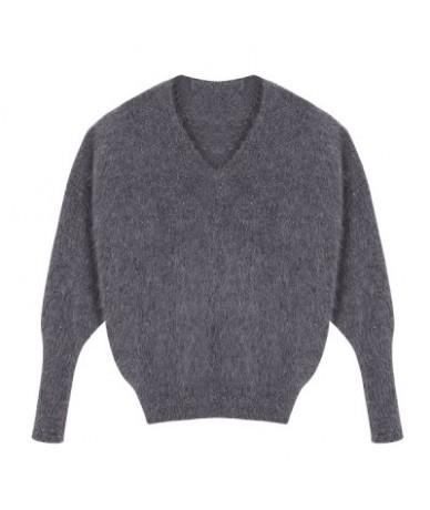 Autumn winter women's angora rabbit knitted pullovers sweater V-neck Jumper batwing sleeve fashion keep warm loosefir - Deep...