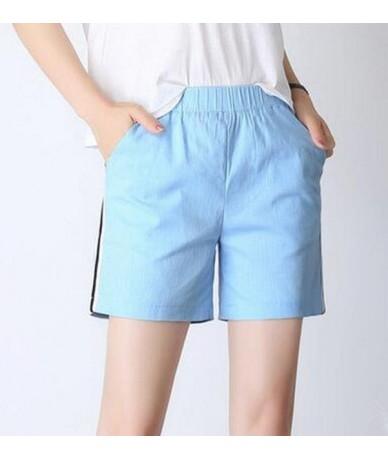 Elastic Waist Casual Women Shorts Summer New 2019 Solid Loose Mid Shorts Cotton Linen beach Large Size 5XL 6XL 7XL Shorts Fe...