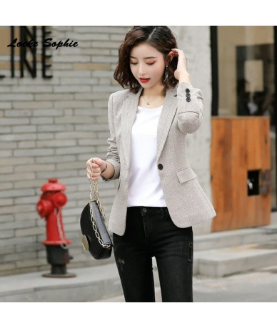Women's Slim fit Blazers coats 2019 Autumn cotton plaid Long sleeves Suits jackets ladies Skinny office Blazers Suits coats ...