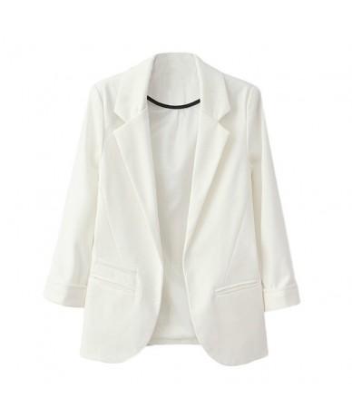 OL Style Nine Quarter Cuffed Sleeve Blazer Elegant Slim Suit Coat Vintage Office Work Open Suits Outerwear high quality - B ...