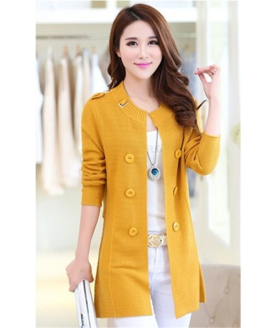 2019 Knitting Cardigan Sweater Women Long Casual Solid Jacket Spring Autumn Full Sleeve Coat Female Double-breasted Knitted ...