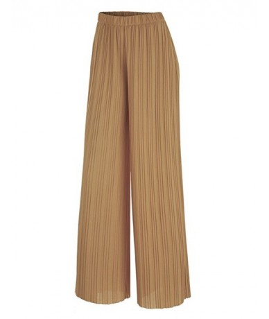 2019 New Spring and Autumn Solid Color Womens Pleated Wide Leg Palazzo Pants with Elastic Band of 8 Color Casual Pants - Kha...