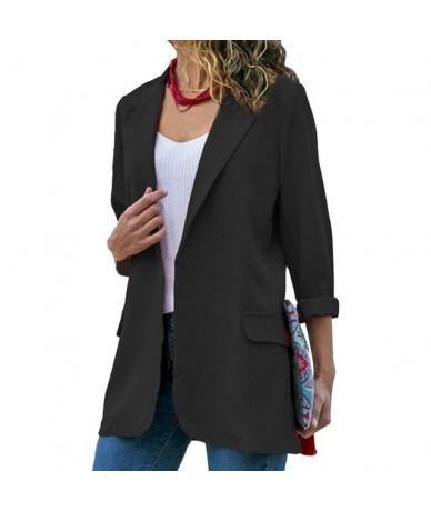 Autumn Women Blazer Long Sleeve Open Front Lightweight Casual Office Lapel Turn Down Collar Slim Jacket Outwear Female - Bla...