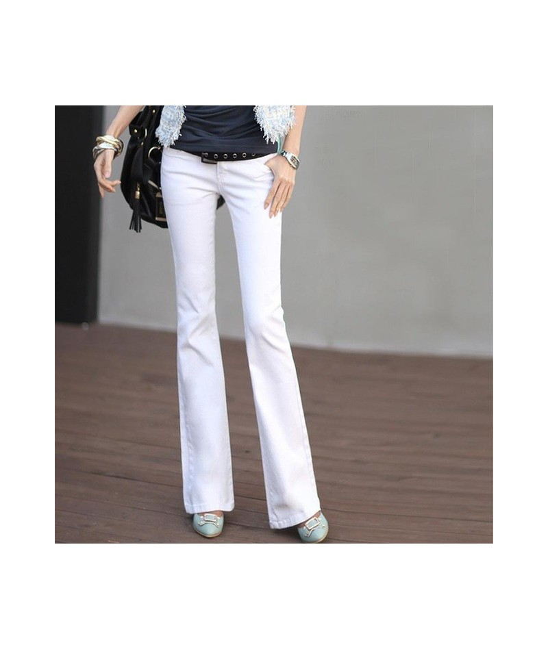2019 New Women's Low Waist White Jeans Plus Large Size Female Black Stretch Flare Jeans Pure Color Washed Trousers XS 4XL - ...