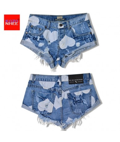 European Style Stars Print Women Shorts Fashion Frayed Tassel Denim Shorts Washed Sexy Low Waist Super Shorts Summer Jean Sh...