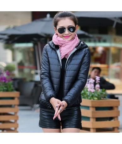 women ultra light down jacket 2017 New hooded winter High Quality jackets women slim long sleeve parka zipper coats - Black ...