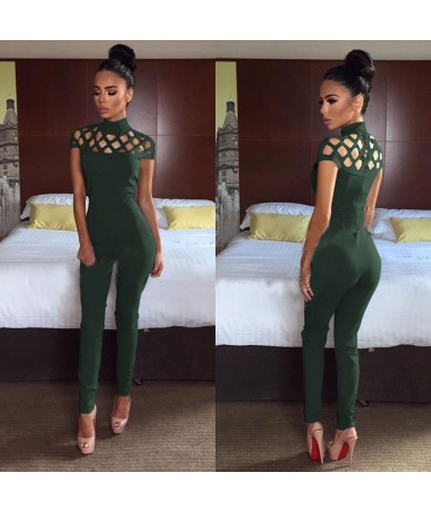 2019 Women Clubwear Hollow Out Playsuit Bodycon Party Jumpsuit Long Trousers - Green - 464150119196-3