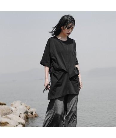 Women White Loose Long Pleated Big Size T-shirt New Round Neck Three-quarter Sleeve Fashion Tide Spring Autumn 2019 JS923 - ...