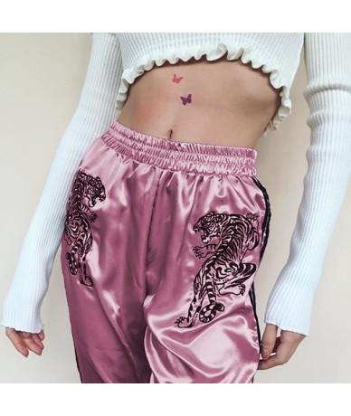 2018 Casual Pants for Women High Waist Embroidery Harem Pants Striped Trousers Fashion New shinny Sweatpants Pantalones Muje...