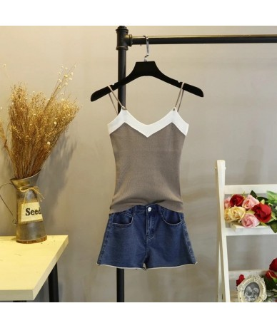 Top Women Camis Knitted Crop Top Women Camisole 2018 Summer Style Sexy Sleeveless Vest Slim Tank tops - khaki - 493013664451-5