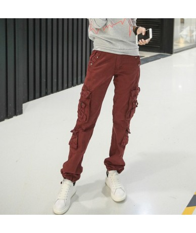 Women's cotton Cargo Pants Leisure Trousers more Pocket pants Causal pants - Red - 4D3973916218-5