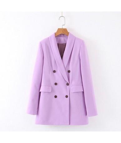 Women Pink Suit Jacket Formal Blazer 2019 Double Breasted Pocket Women Blazer Work Office Business Suit Outwear - light purp...