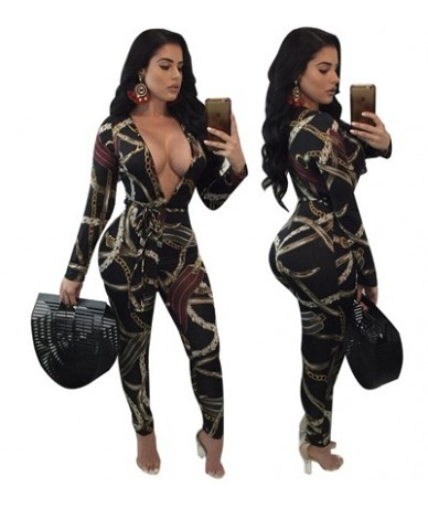 Hot Sale Chain Floral Print Bandage Jumpsuit Plus Size Women Deep V Neck Long Sleeve Sashes Bodycon Rompers Catsuits - chain...
