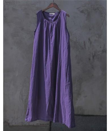 4 Color Women Summer Dress Sleeveless 2019 New O-Neck Cotton Women Cloths Casual Belt Dress - Purple - 434132559974-3