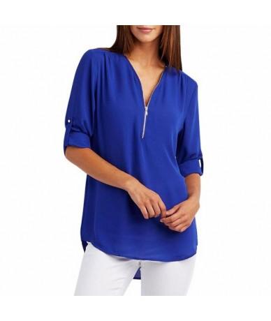 2019 New Spring Summer Fashion Women Tops Casual Street Half Sleeve V-Neck Blouse Loose Plus Size Zipper Chiffon Blouse Shir...