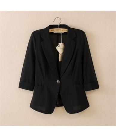 Plus Size 4XL New Summer Thin Blazer Feminino White Black Small Suit Jacket Women Basic Coats Chaqueta Mujer Blazer Women C4...