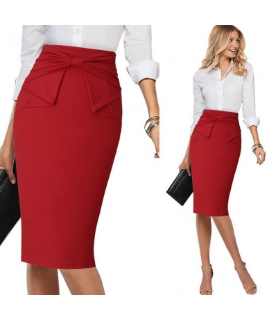 Womens Elegant Pleated Bow High Waist Slim Wear To Work Office Business Party Cocktail Fitted Bodycon Pencil Skirt 865 - Red...