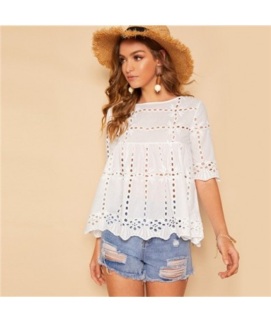 White Cut Out Scallop Hem Blouse Women 2019 Boho Summer Half Sleeve Casual Clothing Fashion Ladies Tops And Blouses - White ...