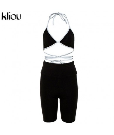 women two pieces set reflective stripe patchwork lace up sexy v-neck camisole crop top elastic high waist shorts oufit - Bla...