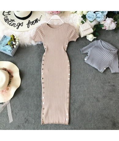 Women Bodycon Dress 2019 Retro Knitted O-neck Short Sleeves Solid Stretch Dresses Button Design Female Vestidos - apricot - ...