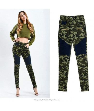 Women`s Jeans Plus Size Chic Camo Army Green Skinny Jeans for Women Femme Camouflage Patch Stitching Pencil Pants - Army Gre...