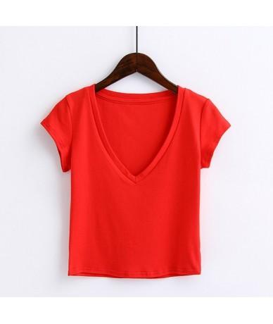 Women Rumi Deep V Neck Short Sleeve Tee Crop Top Cotton T-shirt - red - 4I3955904161-3