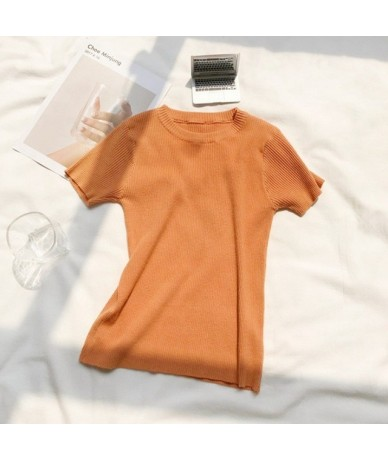2019 summer new Korean version of the O-neck Slim short thin solid color wild short-sleeved knitted bottoming shirt female -...