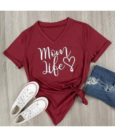 2019 Fashion Women V-Neck Plus Size T Shirt Letter Printed Mom Life Summer Casual Short Sleeve Ladies Tops Harajuku Tees Shi...