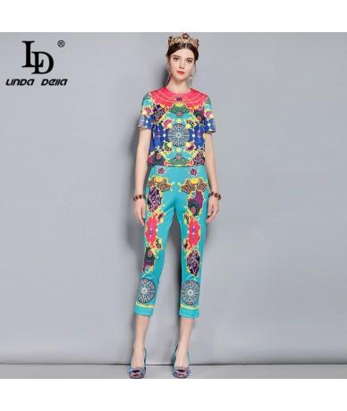 New Spring Summer Fashion Runway Designer Suits Women's Pullover Printed Top Vintage Long Pants Set - Multi - 413970199617