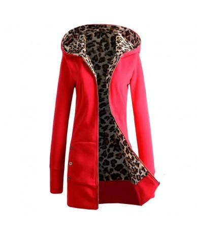Women Winter Loose Hooded Jacket Thicken Velvet Long sleeve Sweatshirt Hoodies Leopard Pullover Women Coat - Red - 463868079...