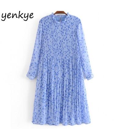2019 Women Sweet Heart Print Pleated Chiffon Dress Elegant Lady Long Sleeve Stand Collar Midi Summer Dress YPFSP8293 - Blue ...