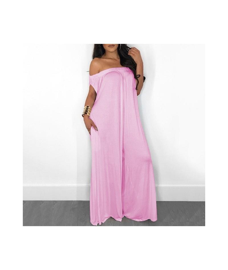 Sexy Off Shoulder Jumpsuit For Women Slash Neck Casual Loose Oversize Jumpsuit Female 2019 Summer Fashion Clothing Tide - pi...