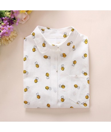 Animals Cotton Female Blouses Pockets Long Sleeves Ladies Shirts Dog Bee Casual Women's Shirt Camisa Femininas 2018 New - 00...
