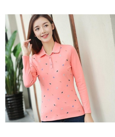 Loose big yards long sleeve female new age season 2017 render unlined upper garment to coat lapel polo shirt - Pink - 4Q3935...