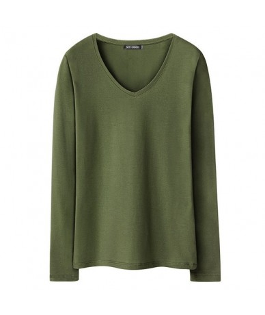 Cotton Women Stretch T-shirt Long Sleeve Under shirt Tops & Tees Casual Solid T-shirts European and American Style - V neck ...