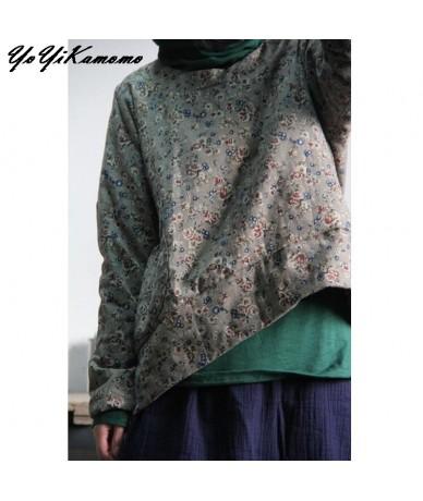Floral Women Parkas Autumn Winter Cotton Linen Vintage Cotton-padded Clothes Women Thick Coat - Beige - 4K3943985497-1