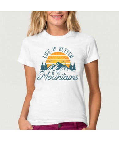 Women Tshirts Print Mountain Letter happy place Tee Female Ladies Woman Casual Tshirt Clothes T-shirt Short Sleeve T Tops - ...